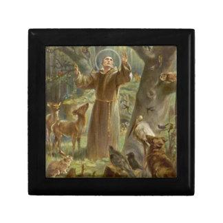 Boîte À Souvenirs St Francis d'Assisi a entouré par des animaux