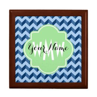 Boîte À Souvenirs Tiffany décoré d'un monogramme et bleu marine