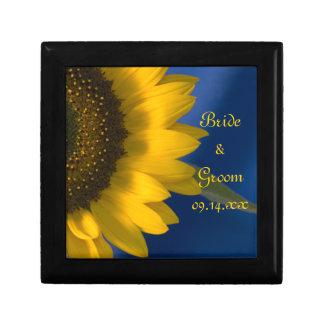 Boîte À Souvenirs Tournesol jaune sur le mariage bleu