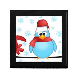 Boîte À Souvenirs Trois oiseaux de Noël sur une illustration de fil