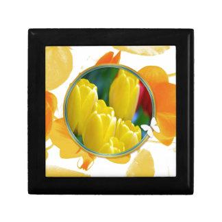 Boîte À Souvenirs Tulipes jaunes dans le cadre rond coloré