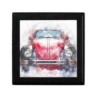 Boîte À Souvenirs Vieux cru d'aquarelle d'abrégé sur art de voiture