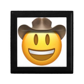 Boîte À Souvenirs Visage d'emoji de cowboy