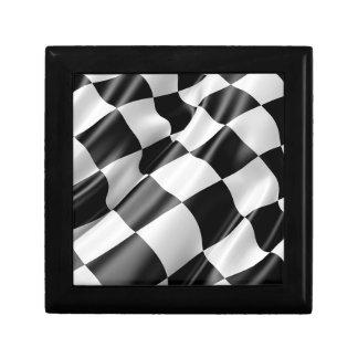 Boîte À Souvenirs Vitesse noire et blanche de finition de drapeau de