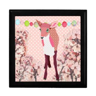 Boîte assez rose d'art de faon de fleurs de cerisi coffret cadeau