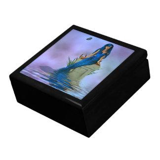 Boîte bleue de bibelot de sirène boîte à souvenirs