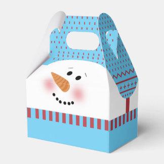 Boîte bleue de pignon de bonhomme de neige ballotins