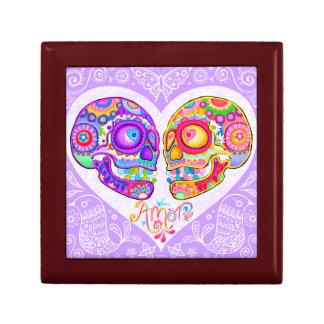 Boîte-cadeau de couples de crânes de sucre - coeur petite boîte à bijoux carrée