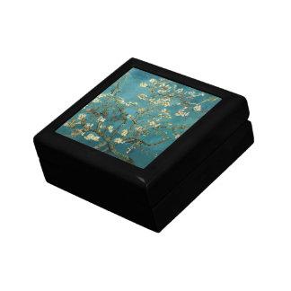 Boîte-cadeau de fleur d'amande petite boîte à bijoux carrée