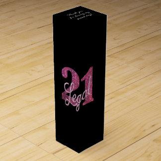Boite Cadeau Pour Bouteille De Vin 21ème Noir chic de parties scintillantes de