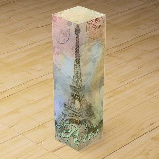 Boite Cadeau Pour Bouteille De Vin Beau Tour Eiffel vintage girly à la mode France