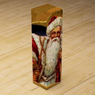 Boite Cadeau Pour Bouteille De Vin Boîte vintage à vin de Père Noël
