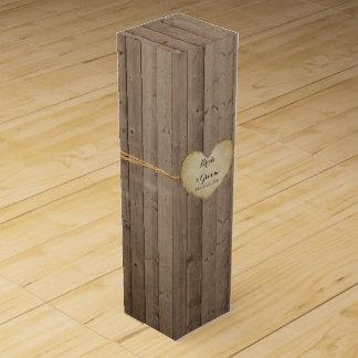 Boite Cadeau Pour Bouteille De Vin Coeur en bois rustique personnalisé de barrière de