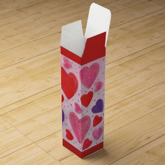 Boite Cadeau Pour Bouteille De Vin Conception rose et pourpre rouge de coeurs de