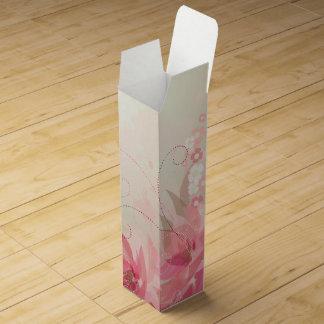 Boite Cadeau Pour Bouteille De Vin Fleurs roses de tissu - boîte à vin de cadeau