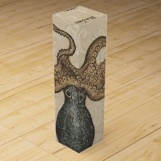 Boite Cadeau Pour Bouteille De Vin Illustration scientifique vintage de Kraken de