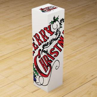 Boite Cadeau Pour Bouteille De Vin Joyeux Noël vintage