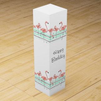 Boite Cadeau Pour Bouteille De Vin Ligne vin de flamant de boîte-cadeau des textes de