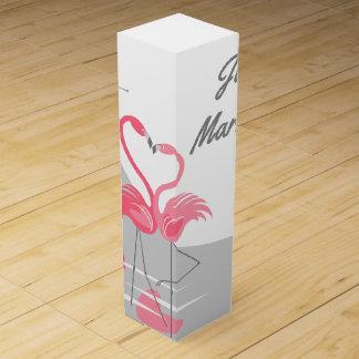 Boite Cadeau Pour Bouteille De Vin Lune d'amour de flamant grande juste mariée !
