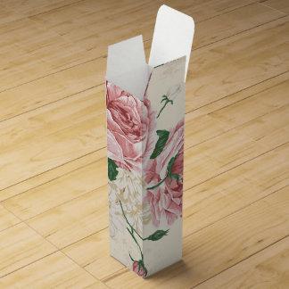 Boite Cadeau Pour Bouteille De Vin Motif de fleur rose de cru romantique