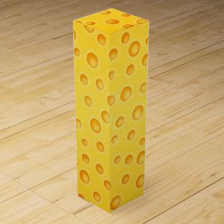 Boite Cadeau Pour Bouteille De Vin Motif de texture de Cheezy de fromage suisse