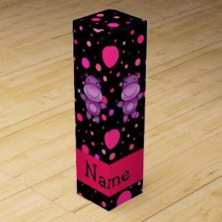 Boite Cadeau Pour Bouteille De Vin Pois nommé personnalisé de rose de noir
