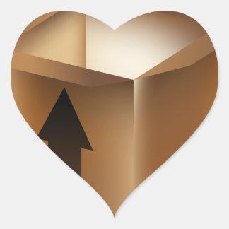 Boîte de flèche de carton d'expédition sticker cœur