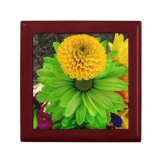 Boîte de souvenir de Fleur Verte Petite Boîte À Bijoux Carrée