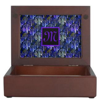 Boîte décorée d'un monogramme bleue et violette boîte à souvenirs