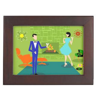 Boîte en bois de souvenir de couples modernes de boîtes à souvenirs