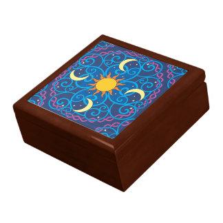 Boîte en bois de souvenir de mandala céleste grande boîte à bijoux carrée