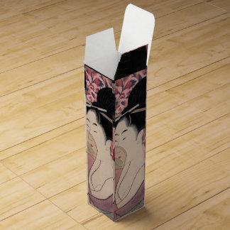 Boite Pour Bouteille De Vin Femme japonaise tenant un peigne, Kitagawa Utamaro
