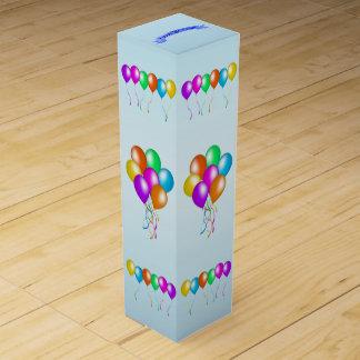 Boite Pour Bouteille De Vin Le joyeux anniversaire coloré monte en ballon la