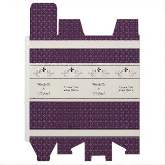 Boite Pour Bouteille De Vin Purple Fleur de Lis Scroll a personnalisé la boîte