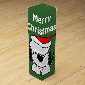 Boite Pour Bouteille De Vin Vieux chien de berger anglais drôle dans Noël de