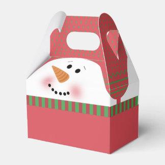 Boîte rouge de pignon de bonhomme de neige ballotins