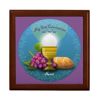 Boîte sainte de mémoire d'eucharistie de première grande boîte à bijoux carrée