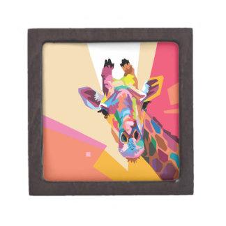 Boîtes À Bijoux De Première Qualité Boîte colorée de souvenir de portrait de girafe
