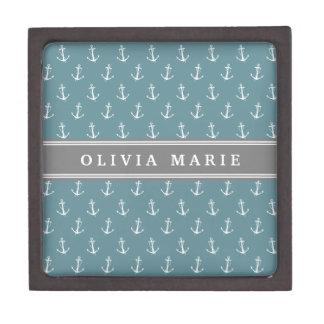 Boîtes À Bijoux De Première Qualité Motif bleu nommé personnalisé d'ancre