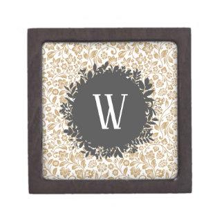 Boîtes À Bijoux De Première Qualité Motif floral d'or avec le monogramme gris-foncé de