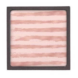 Boîtes À Souvenirs De Première Qualité Rayures peintes à la main métalliques d'or rose