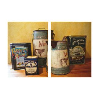 Boîtes vintages et cruches toiles