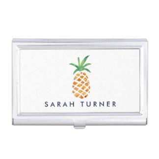 Boîtier Pour Cartes De Visite Ananas tropical d'aquarelle personnalisé
