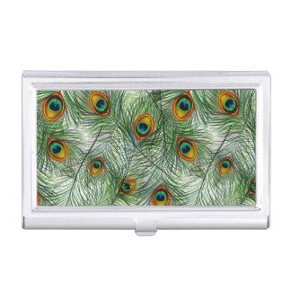 Boîtier Pour Cartes De Visite Belle plume verte de paon
