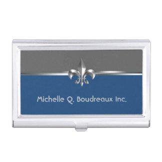 Boîtier Pour Cartes De Visite Blue Fleur de Lis gris moderne