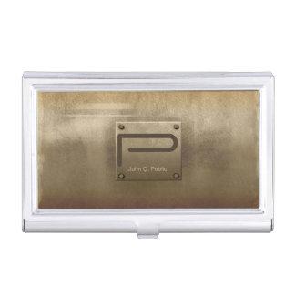 Boîtier Pour Cartes De Visite Bronze de plaque métallique rugueux ID327