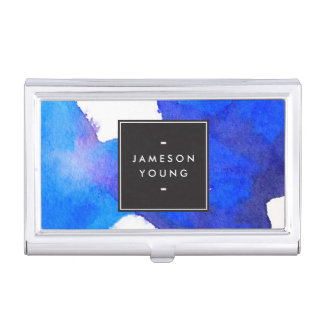 Boîtier Pour Cartes De Visite Cool et aquarelle bleue abstraite élégante
