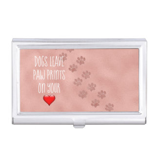 Boîtier Pour Cartes De Visite Empreintes de pattes de congé de chiens sur votre