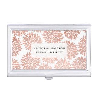 Boîtier Pour Cartes De Visite Géométrique abstrait floral de scintillement rose