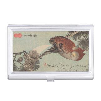 Boîtier Pour Cartes De Visite Hibou sur le pin par Ichiryusai Hiroshige